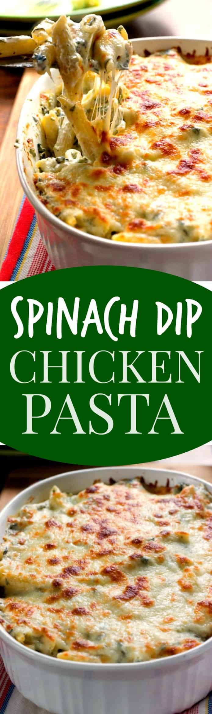 spinach dip chicken pasta long Cheesy Spinach Dip Chicken Pasta