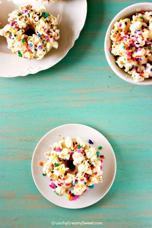 Birthday Popcorn Donuts 1 White Chocolate Funfetti Popcorn Donuts