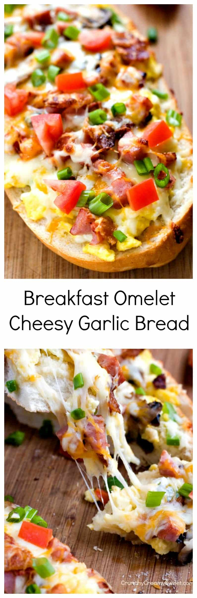 Breakfast Omelet Cheesy Garlic Bread easy bread topped with eggs bacon cheese mushroom and peppers Breakfast Omelet Cheesy Garlic Bread