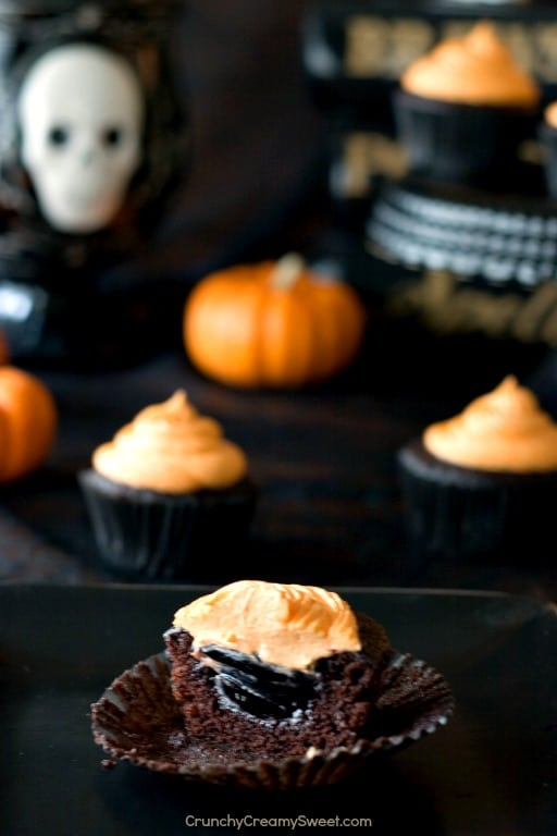 Chocolate Cupcakes for Halloween Chocolate Cupcakes with Blackberry Filling and Vanilla Bean Frosting