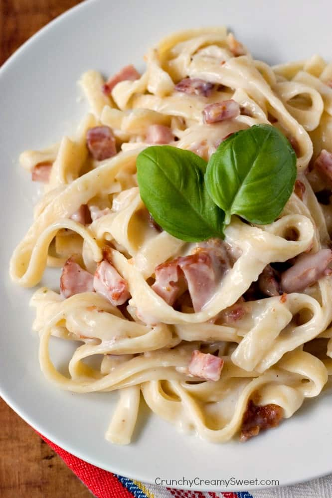 Pasta Carbonara Recipe the easiest pasta dish you can make Roasted Garlic Cauliflower Alfredo Sauce