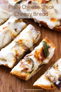 Philly Cheese Steak Cheesy Bread make a cheesy bread into a meal 200x300 15 Best Game Day Recipes