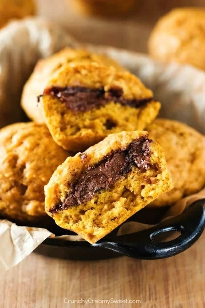 Pumpkin Muffins with Nutella 3 Nutella Filled Pumpkin Muffins