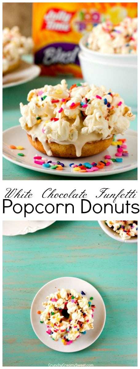 White Chocolate Funfetti Popcorn Donuts perfect fun treat for a party 1 White Chocolate Funfetti Popcorn Donuts
