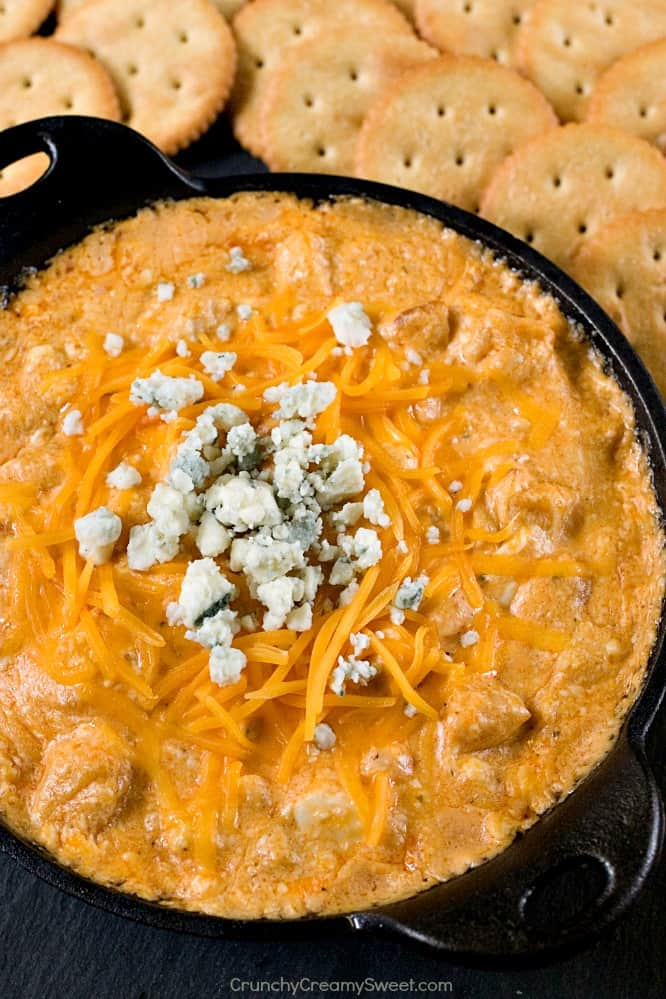 Buffalo Chicken Dip easy spicy and perfect for a game day Hot Buffalo Chicken Dip