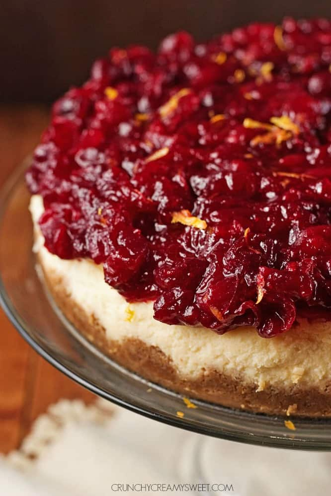 Orange And Almond Cheesecake With Cranberry Sauce Recipe ...