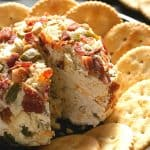 Jalapeno Popper Bacon Cheese Ball with crackers.