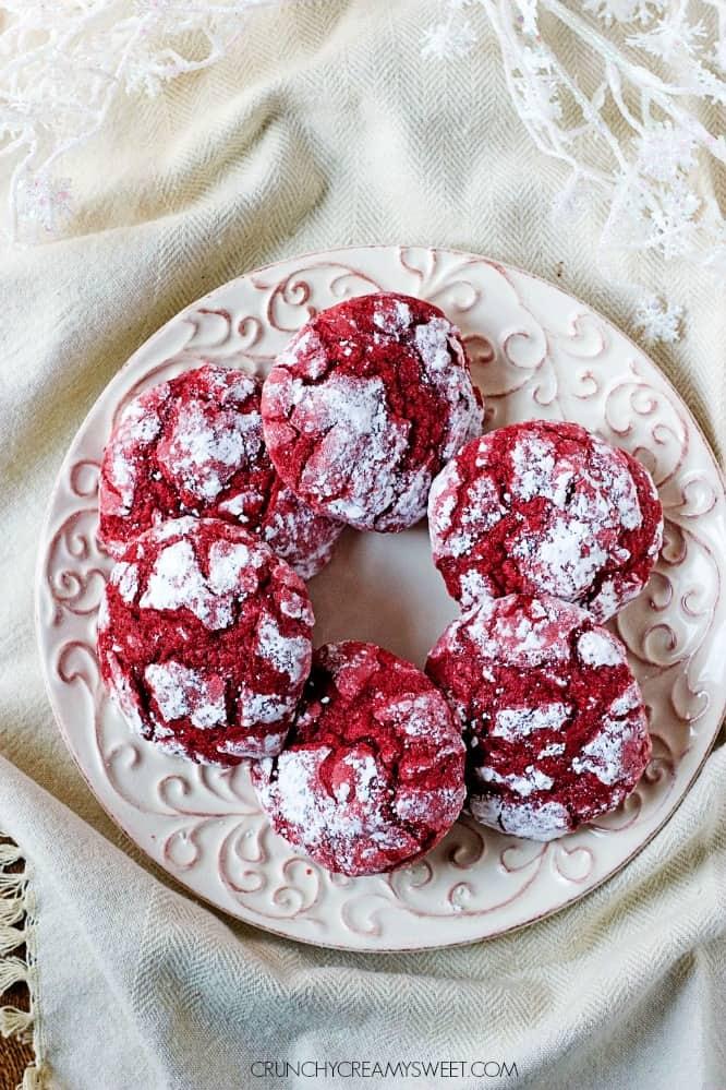 Red Velvet Crinkle Cookies - Crunchy Creamy Sweet