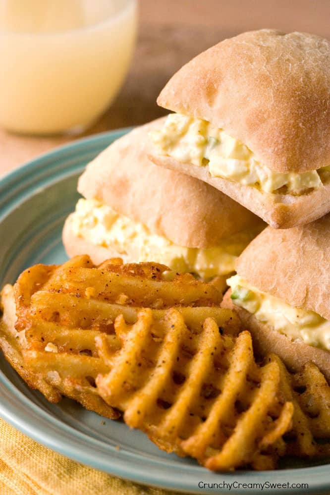 Skinny Egg Salad Sliders wi Lightened Up Chili Cheese Fries