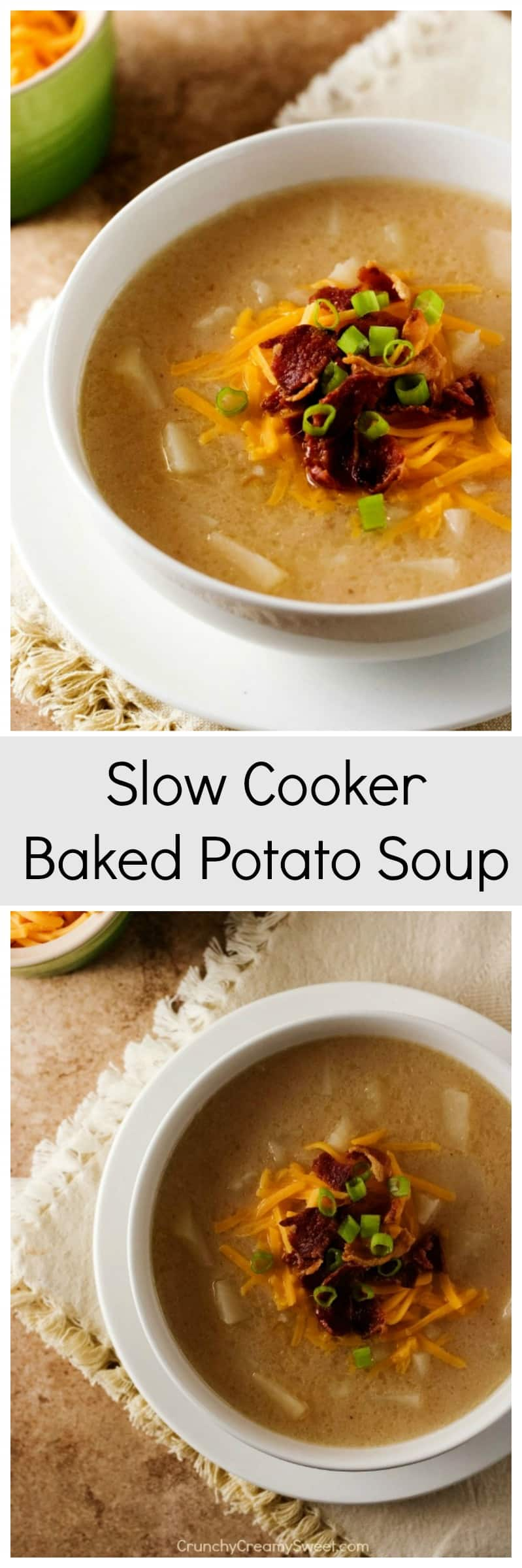 Slow Cooker Baked Potato Soup easy soup yet packed with lots of flavor ...