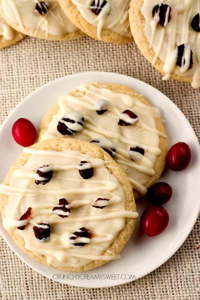 Soft and chewy dried cranberry cookies White Chocolate Cranberry Sugar Cookies