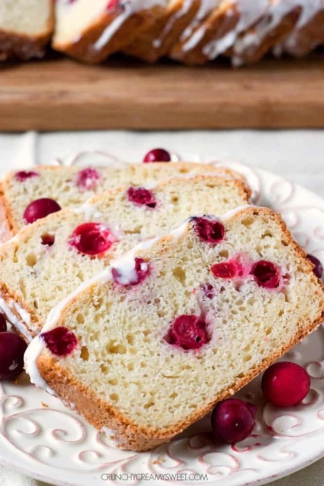 Sweet Bread with Cranberries and Creamy Glaze Glazed Cranberry Sweet Bread