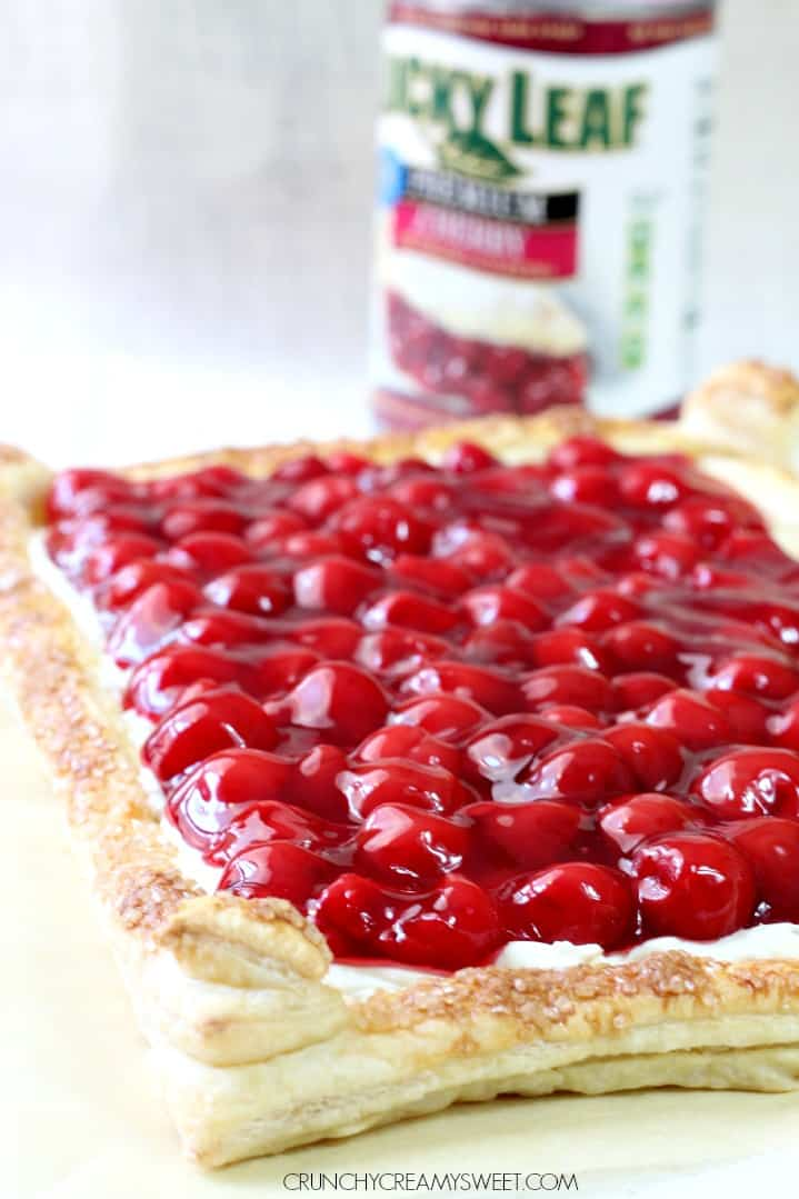 Puff Pastry Tart with Pie Filling Cherry Cream Puff Pastry Tart