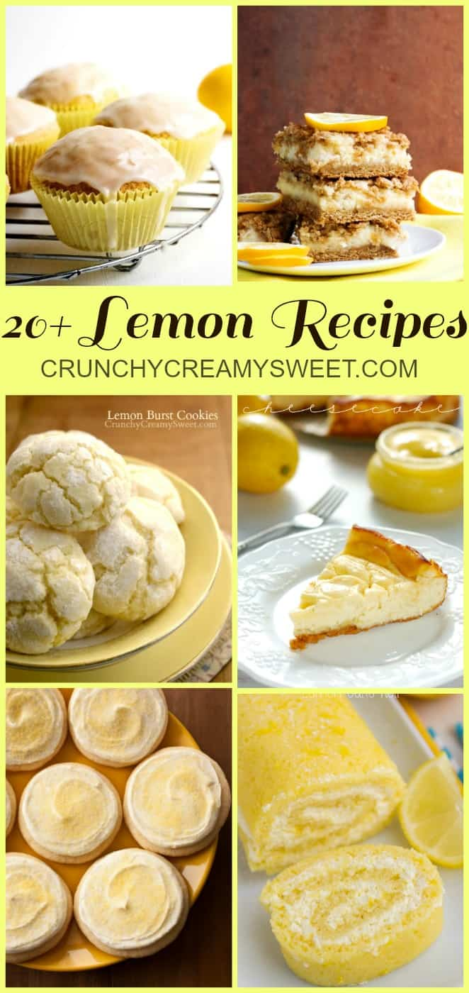 20 Lemon Recipes from crunchycreamysweet.com  Lemon White Chocolate Chip Cookies Recipe