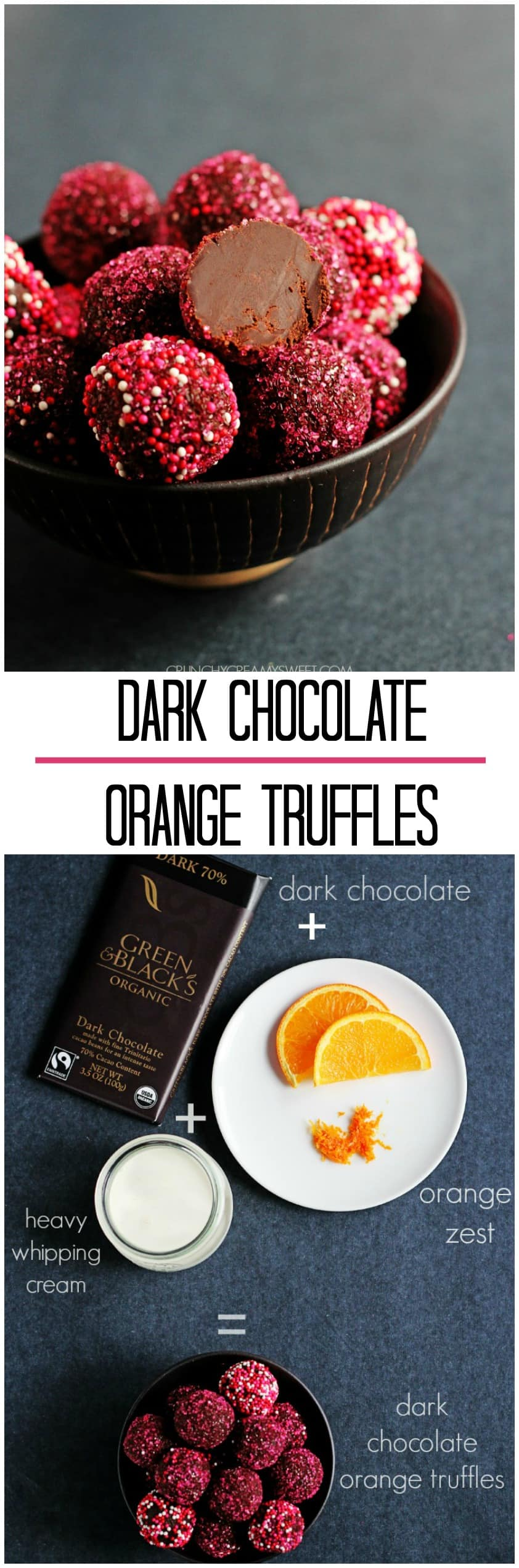 How to make dark chocolate orange truffles with only 3 ingredients @crunchycreamysw 3 Ingredient Dark Chocolate Orange Truffles