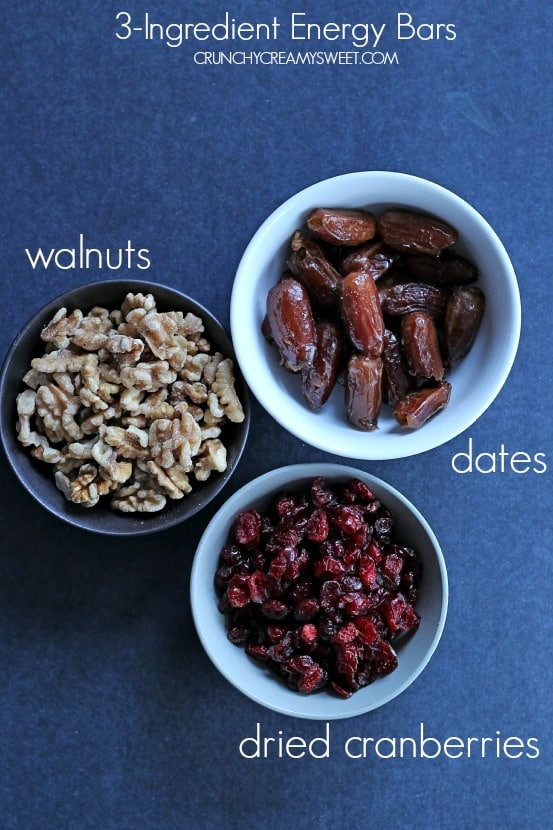 How to make energy bars with 3 ingredients Cranberry Walnut Energy Bars (3 Ingredient Recipe)