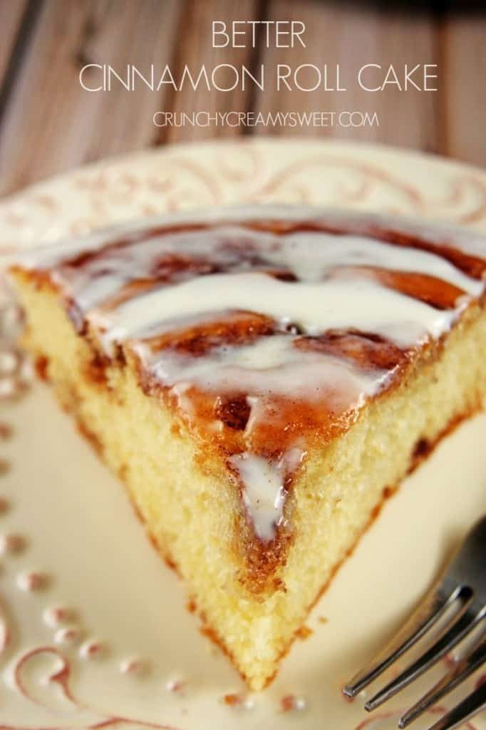 Better Cinnamon Roll Cake with Cream Cheese Frosting crunchycreamysweet.com  682x1024 Cinnamon Roll Cake (from scratch) Recipe