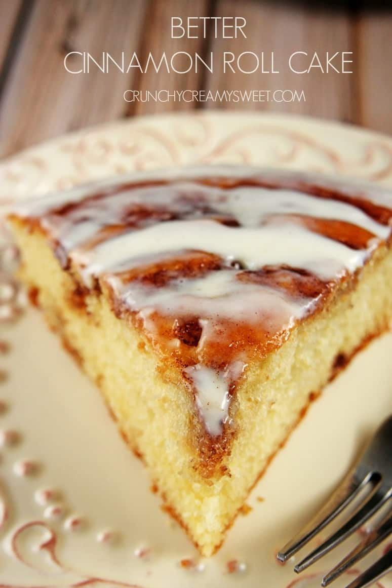 Better Cinnamon Roll Cake with Cream Cheese Frosting crunchycreamysweet.com  Cinnamon Roll Cake (from scratch) Recipe