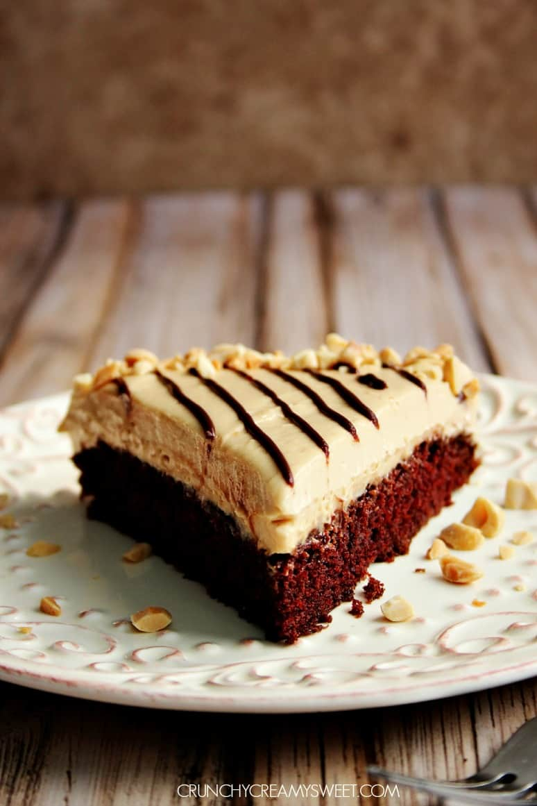 Peanut Butter Mousse Chocolate Cake - Crunchy Creamy Sweet
