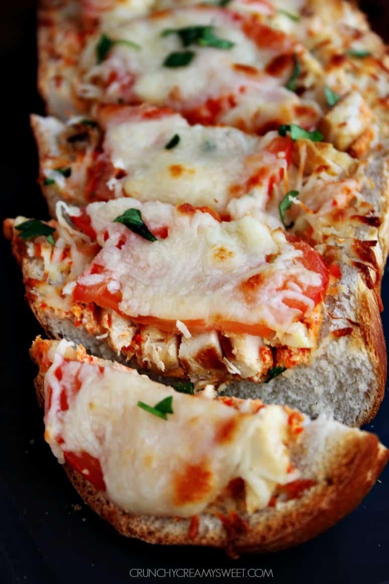 Easy Cheesy Bread with Italian Chicken Italian Chicken Cheesy Bread