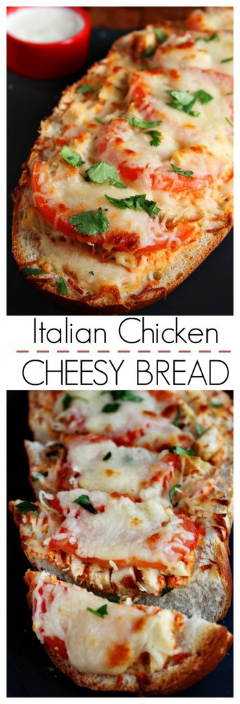 Easy Cheesy Italian Chicken Bread with Sweet Pepper Sauce @crunchycreamysw 349x1024 Italian Chicken Cheesy Bread