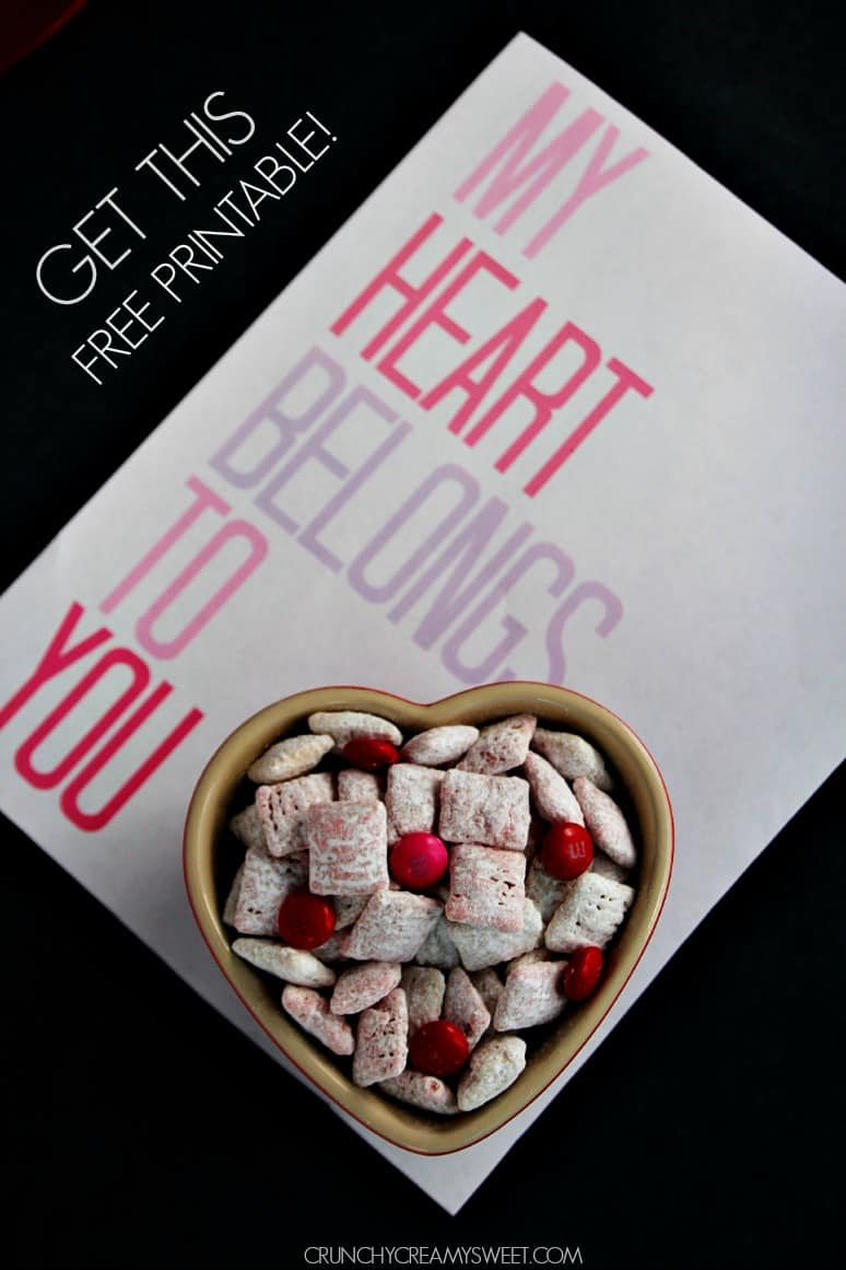 Free Valentines Day Printable Valentines Day Puppy Chow + Free Printable
