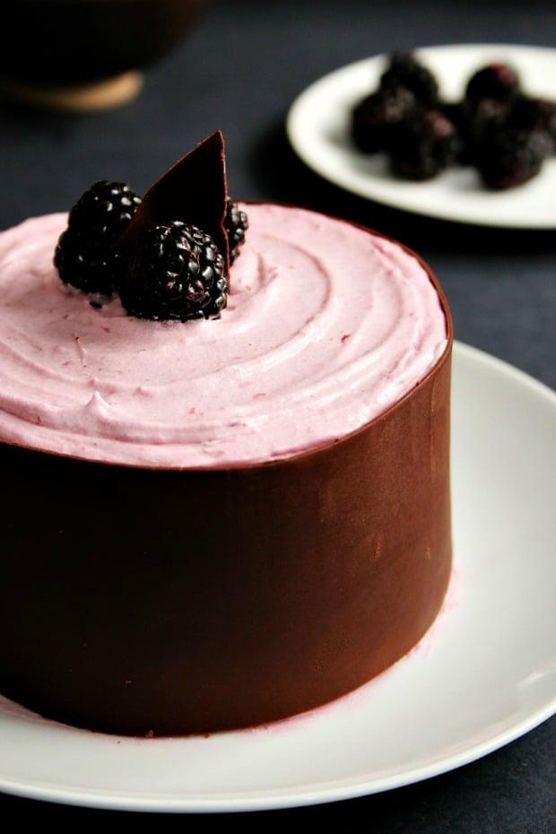 Mini Chocolate Cake with Blackberry Cream Cheese Frosting and Chocolate Wrap Mini Chocolate Layer Cake with Blackberry Frosting