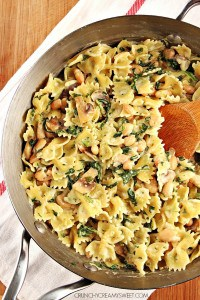 One Pot Mushroom Spinach Pasta meatless dinner idea that takes only 20 minutes 200x300 One Pot Pasta with Sausage and Beet Greens