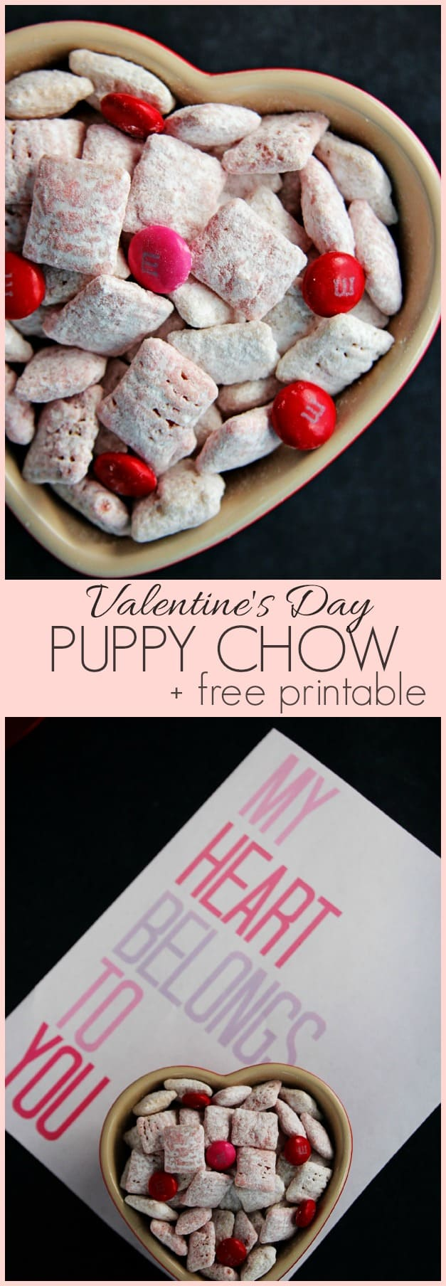 Valentines Day Puppy Chow plus a free printable Valentines Day Puppy Chow + Free Printable