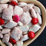 White Chocolate Strawberry Valentines Day Puppy Chow from @crunchycreamysw 150x150 Valentines Day Puppy Chow + Free Printable