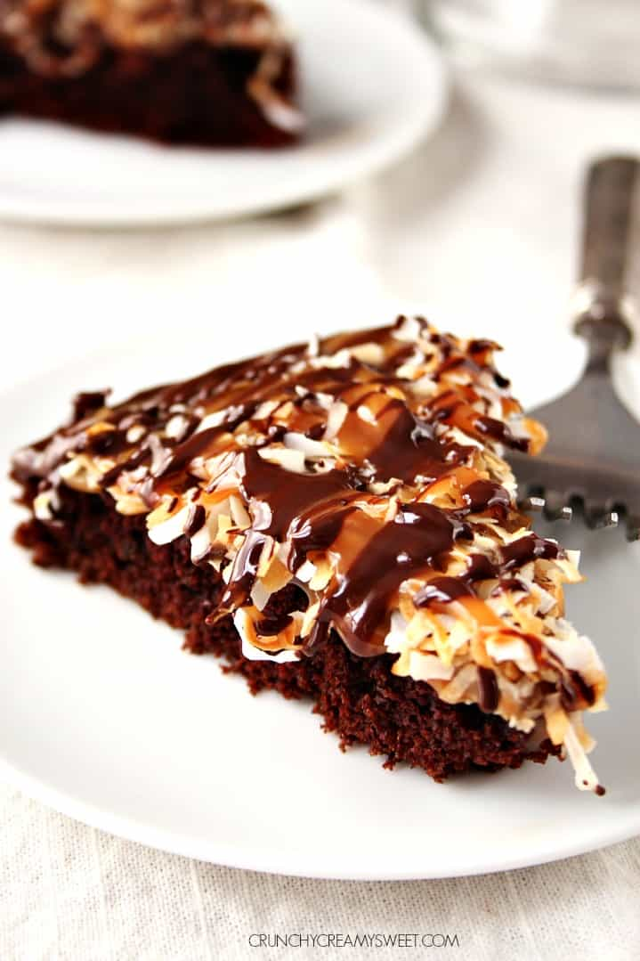 Samoa Inspired Chocolate Cake @crunchycreamysw Samoas Inspired Chocolate Cake