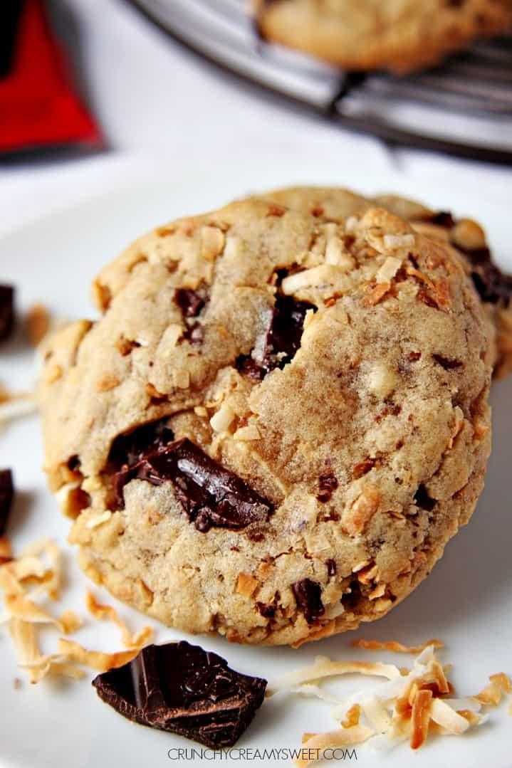 Toasted Coconut Dark Chocolate Cookies crunchycreamysweet.com Samoas Inspired Chocolate Cake