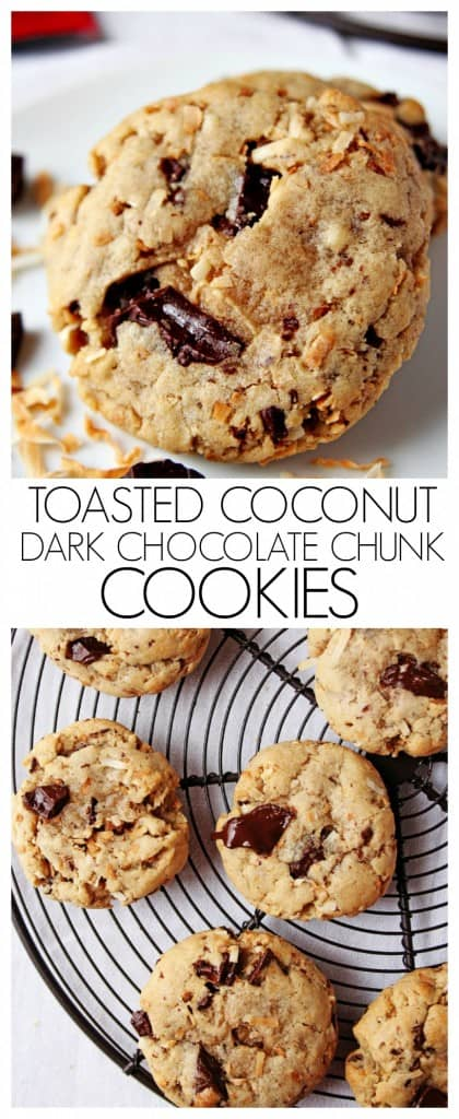 Toasted Coconut and Dark Chocolate Chunk Cookies on crunchycreamysweet.com 420x1024 Toasted Coconut and Dark Chocolate Chunk Cookies