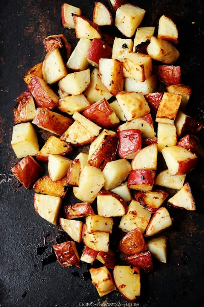 Easy Roasted Potatoes recipe crunchycreamysweet.com  682x1024 Lemon Garlic Roasted Potatoes