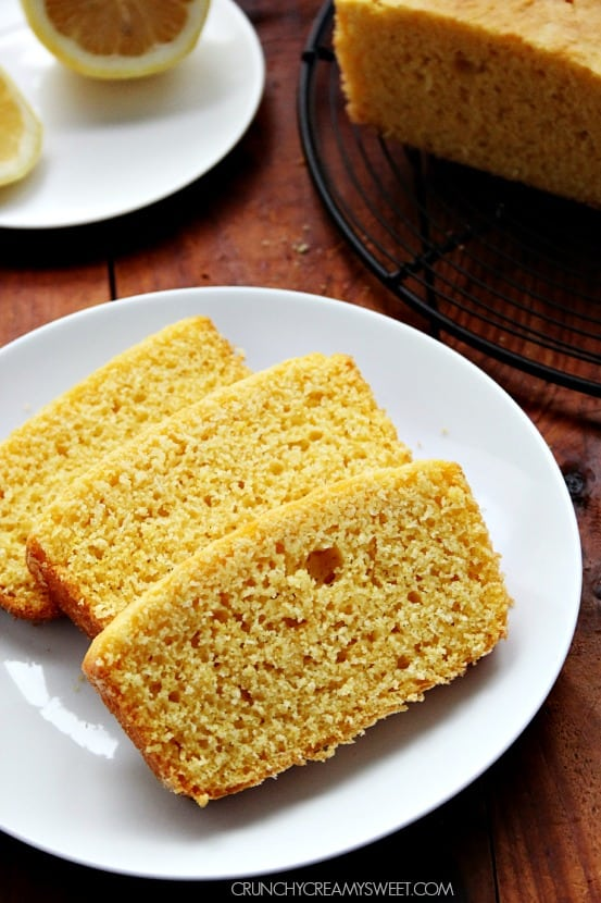 Lemon Cornbread Loaf Recipe crunchycreamysweet.com  Lemon Cream Cheese Crumb Cake
