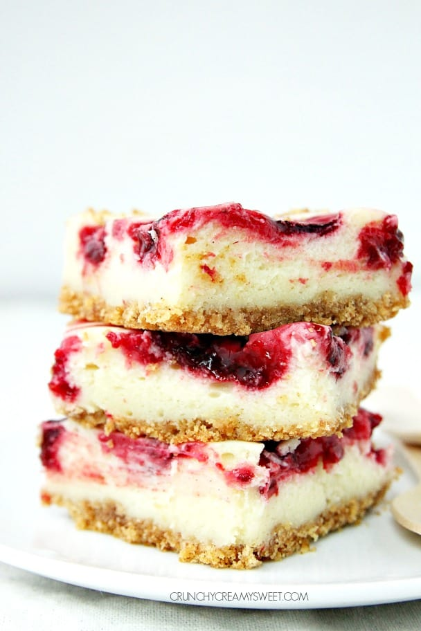 Lemon Raspberry Cheesecake Bars crunchycreamysweet.com  Peaches and Cream Dessert Taco Boats Recipe
