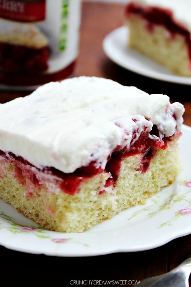 Cherry Poke Cake @crunchycreamysw Cherry Marshmallow Delight Poke Cake