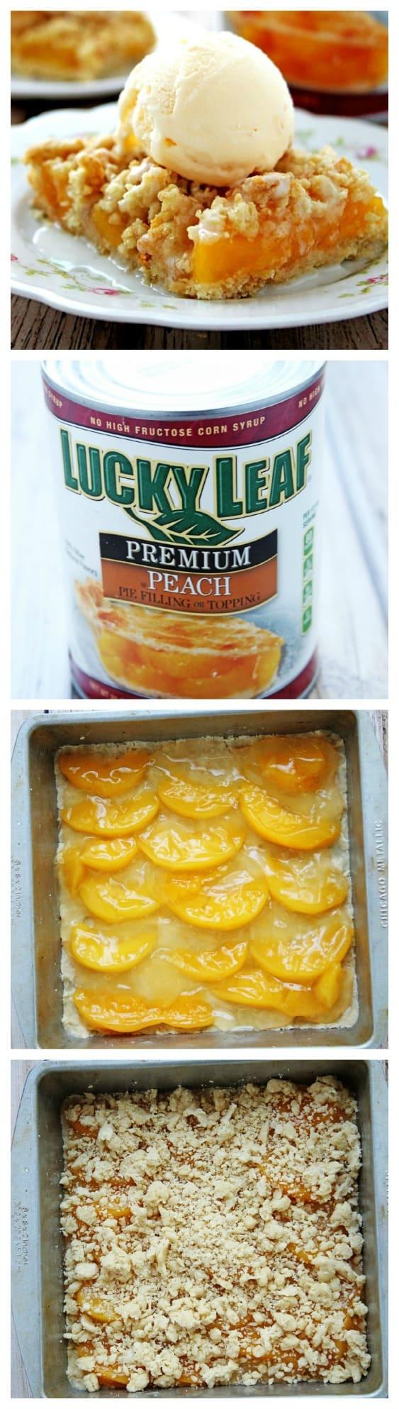 Peaches and Cream Crumb Bars a la Mode crunchycreamysweet.com recipe Peaches and Cream Bars a la Mode