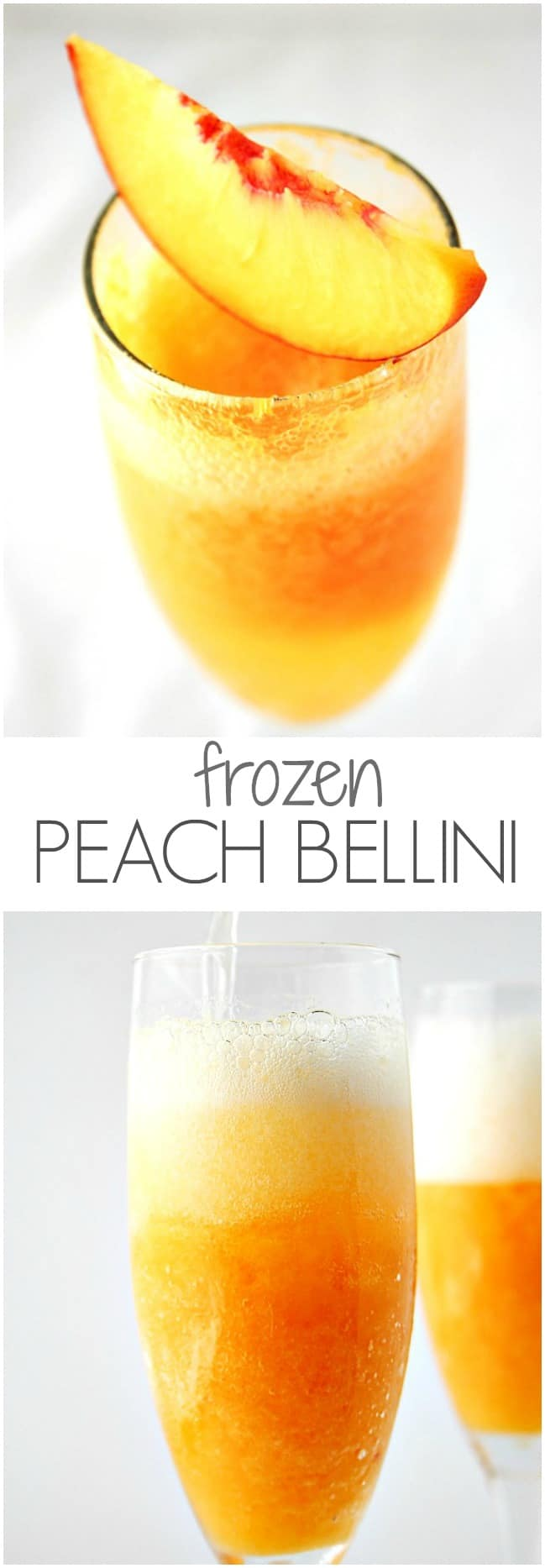 Frozen Peach Bellini jazz up sparkling wine or champagne with frozen peach puree @crunchycreamysw Frozen Peach Bellini