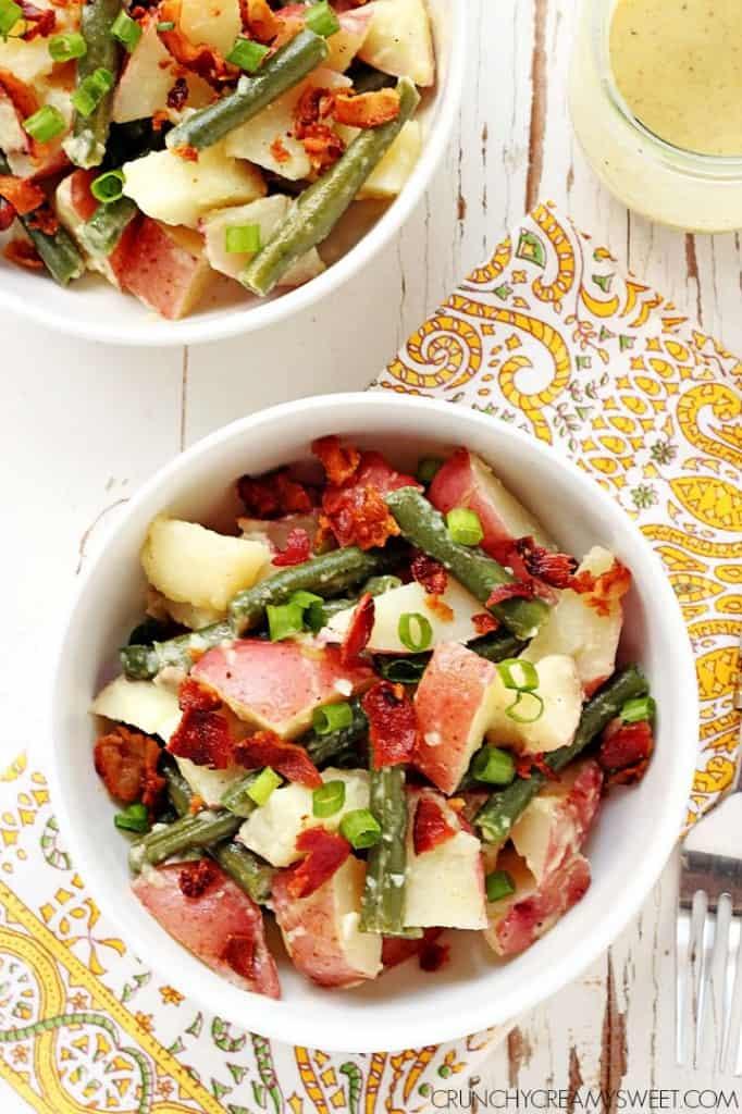 Green Bean and Potato Salad Recipe CrunchyCreamySweet.com 682x1024 Green Bean and Potato Salad with Bacon