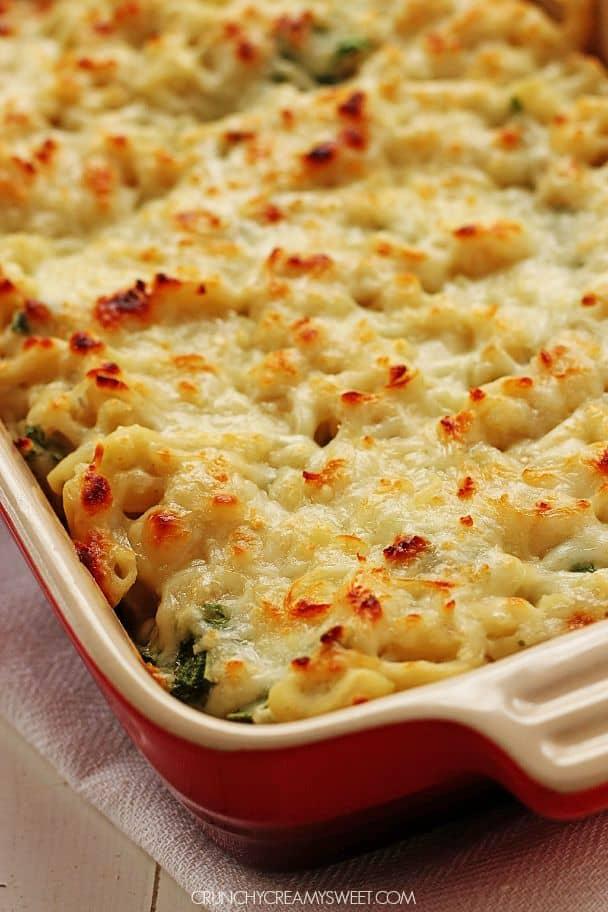 Healthy Spinach Dip Mac and Cheese @crunchycreamysw Spinach Artichoke Cheesy Dip Recipe Card