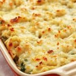 Healthy Spinach Dip Mac and Cheese in casserole dish.