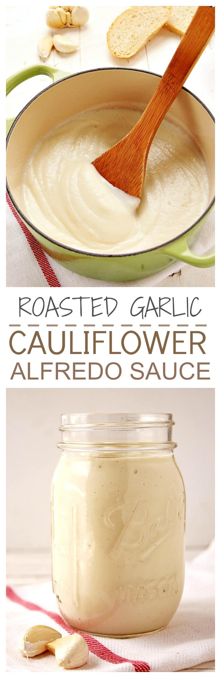 Healthy sauce made with cauliflower and roasted garlic with an addition of Parmesan. We cant stop eating it Great on pasta and pizza @crunchycreamysw Roasted Garlic Cauliflower Alfredo Sauce