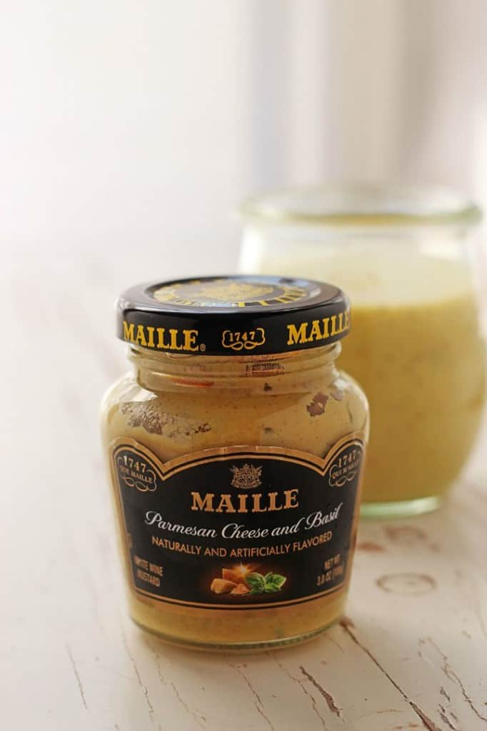 Maille Parmesan Cheese and Basil Mustard 682x1024 Green Bean and Potato Salad with Bacon