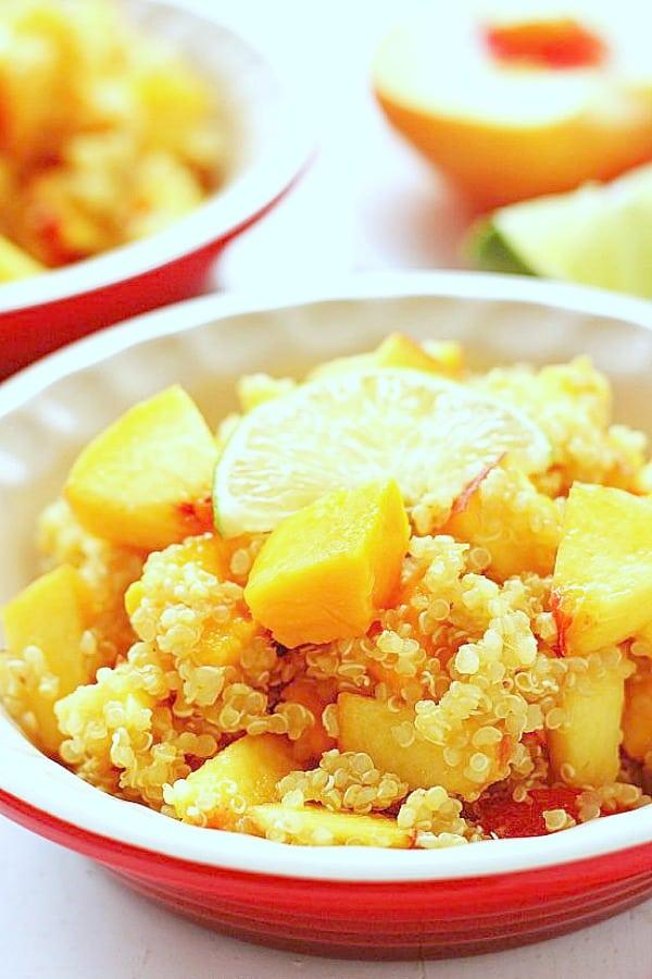 Mango Peach Quinoa Salad a Mango Peach Quinoa Salad
