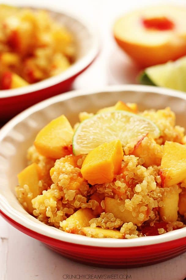 Mango Peach Quinoa Salad with Honey Lime Dressing @crunchycreamysw Peach Sorbet
