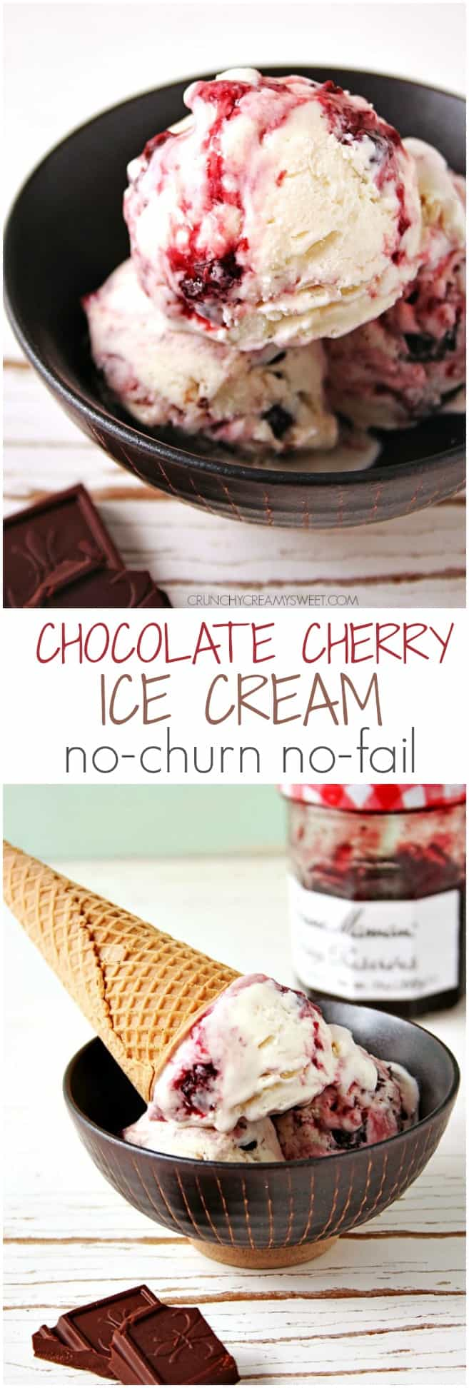 No Churn No Fail 2 Ingredient Ice Cream with Cherry Preserves and Dark Chocolate @crunchycreamysw Chocolate Cherry Ice Cream