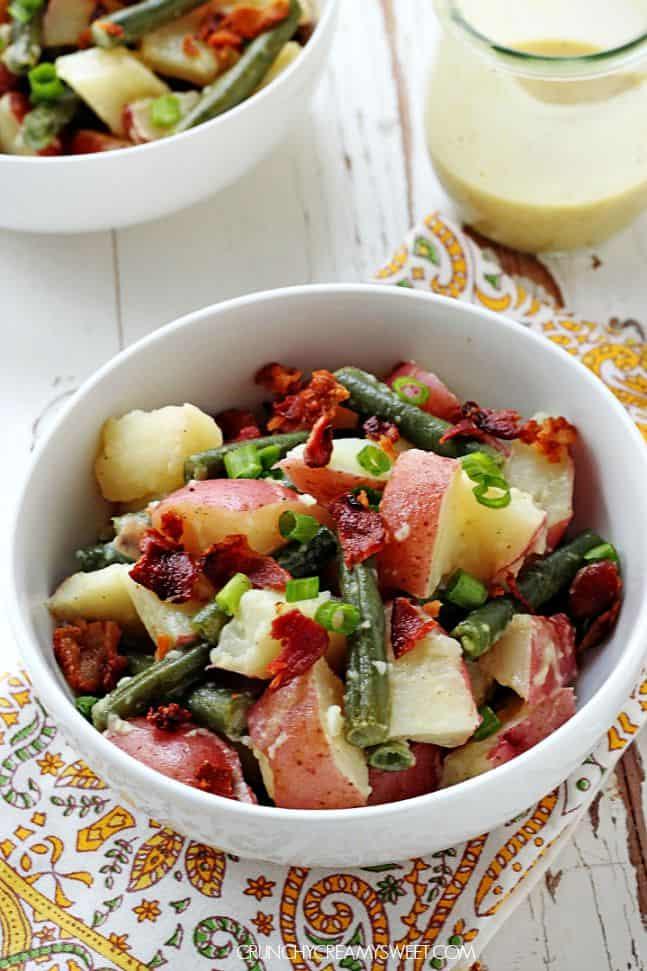 Potato Salad with Green BeansBacon and Mustard Dressing recipe from crunchycreamysweet.com  KFC Coleslaw Copycat Recipe Card