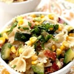 Sweet corn and zucchini pasta with bacon