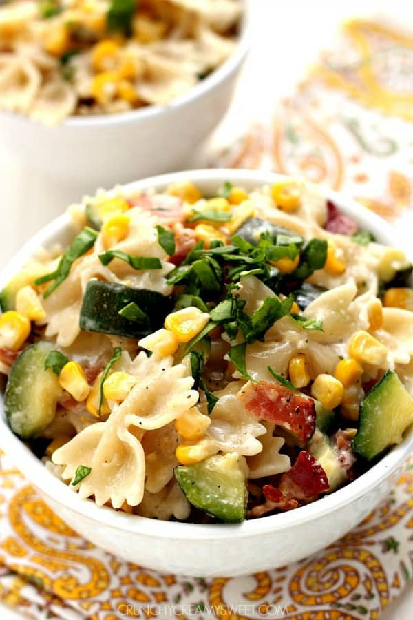 corn and zucchini pasta A Sweet Corn and Zucchini Pasta with Bacon (15 Minute Dinner)